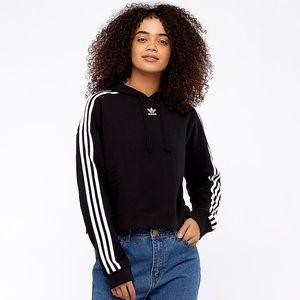 NWT Adidas Black Cropped Hoodie Size L
